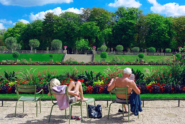 seniors in flower garden