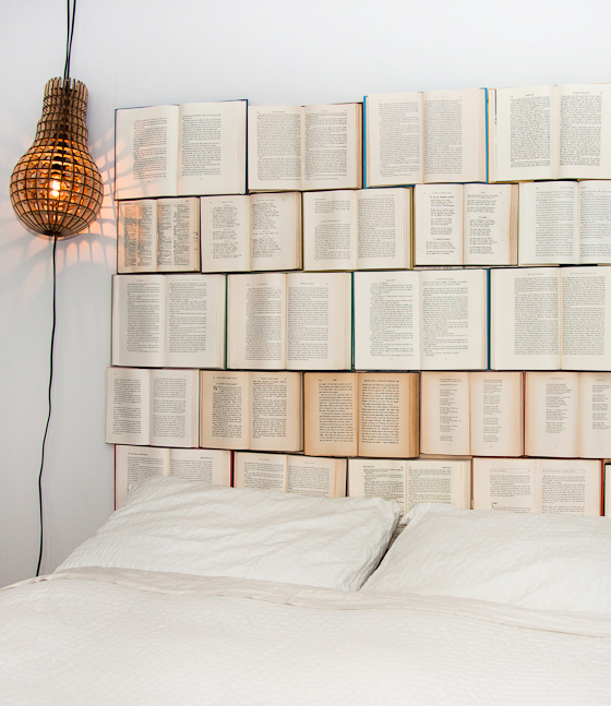 easy to make furniture ideas. 1  Book Headboard This first design is one I really love It so simple to make also All you need some plywood nails and of course hard 3 Cool Furniture Ideas Made Out Recycled Books Ways2GoGreen Blog