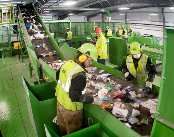 dumping waste hopefully ends up in recycling center