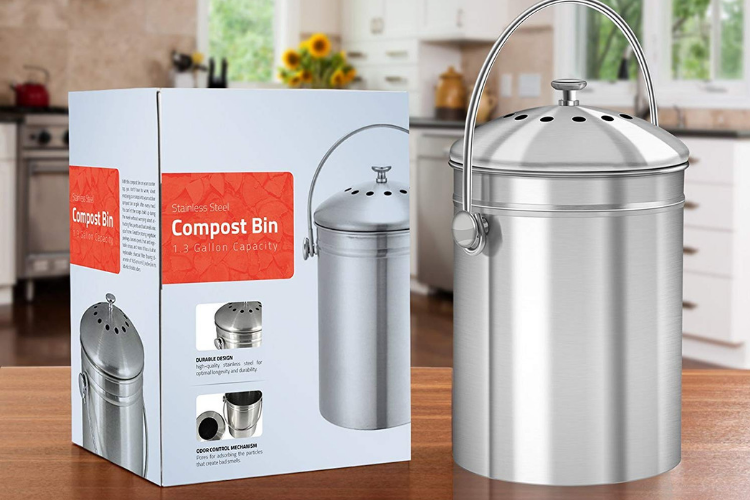 Utopia Kitchen Stainless Steel 1.3 Gallon Compost Bin